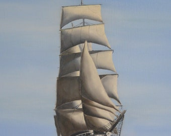 Tall Ship in the storm, original oil painting on canvas, sailing vessel