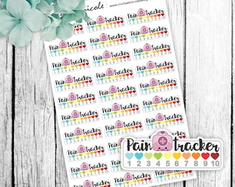 Pain Stickers, Pain Tracker Stickers, Medical Tracker, Health Sticker, Health Tracker, Doctor - Perfect for Planners and Calendars - MN094