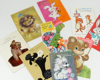 1960s Animal Theme Birthday Cards General Birthday Lot of 9 1960s Birthday Cards - Signed Birthday Cards Vintage Scrapbooking