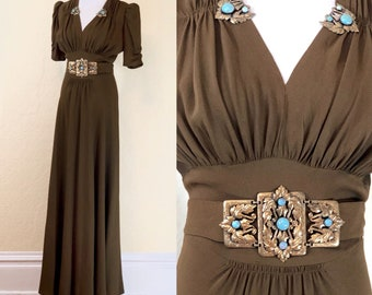 ON HOLD - do not purchase - late 1930's early 1940's broze crepe dress with turquoise belt and dress clips