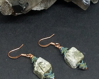 Unique Hematite Chevron and Pyrite Earrings