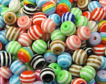 75 Striped Beads 6mm Acrylic Resin Stripe Bead
