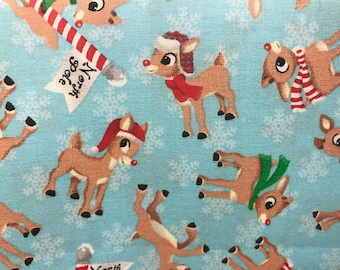 Rudolph the Red Nosed Reindeer North Pole Winter Holiday Christmas Fabric, winter, Christmas fabric, holiday fabric, vintage Christmas
