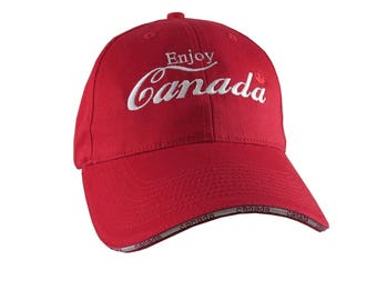 Enjoy Canada Festive White Embroidery on an Adjustable Fashion Structured Red Baseball Cap in Stylish Canadian Details
