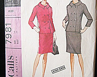 McCall's Pattern #7981, Misses Suit With Double Breasted Jacket, Copyright 1965, Complete Pattern, Vintage Sewing, 1960's Styles,