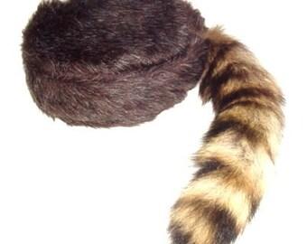 Brown Tail  Coonskin Cap