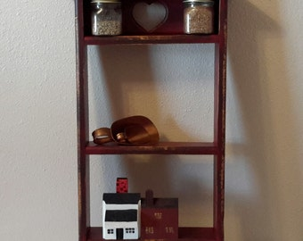 Red Shabby Curio, Rustic Red Shelf, Wooden Farmhouse Shelf, French Shabby,  Upcycled Shelf, Knick Knack Shelf