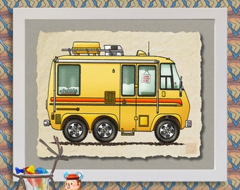 GMC Motor Home happy camper art Cute whimsical vintage RV and camper prints add fun to RV, trailer or cabin as 8x10 & 13x19 wall decor