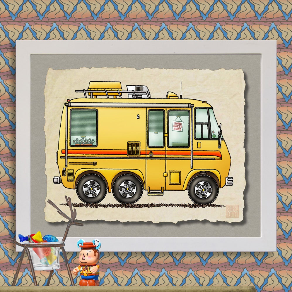 GMC Motor Home happy camper art Cute whimsical vintage RV and
