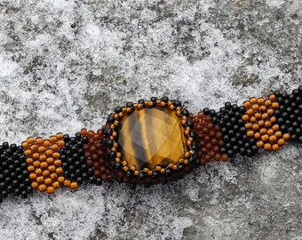 Free Form Peyote Stitch Beaded Bracelet Cuff  Beaded  Tiger Eye Cabochon  - Bead Weaving - BOHO