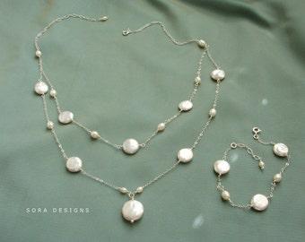 Coin pearl bracelet, Bridal bracelet, sterling silver bracelet coin pearls freshwater pearls, Mother of the Bride jewelry