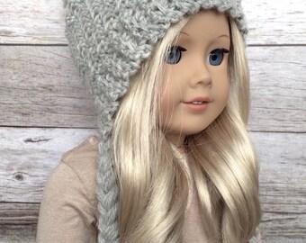 DIY Crochet Pattern – 18 inch Doll Braided Earflap Beanie PDF 20 (Fits American Girl Dolls) – Digital Download