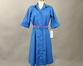 vintage 80s royal blue dress by Willi of California NWT . blue shirt dress with full skirt, matching belt . womens medium large belted dress