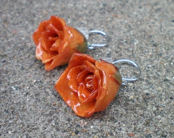 Free Shipping REAL Orange ROSE BUD Sterling Silver Dangle French Hook Earrings