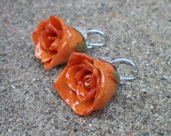 Kostenloser Versand echte Orange ROSE BUD Sterling Silber baumeln Französisch Haken