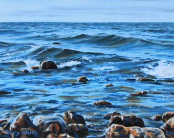 "Landscape Art Print - ""Huron Shore"", Limited Edition Giclee Print on Fine Art Paper of Great Lake shoreline, 7"" x 9.2"""