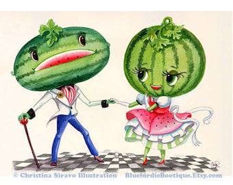 Watermelon Couple Giclee Fine Art Print 8.5x11