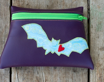 Bat Totem Purple vinyl pouch