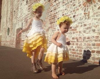 Girls Flamenco Dress in Golden Ombrè