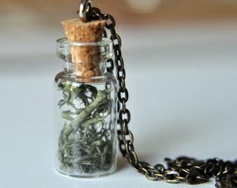Tiny Bottle of Moss - terrarium necklace