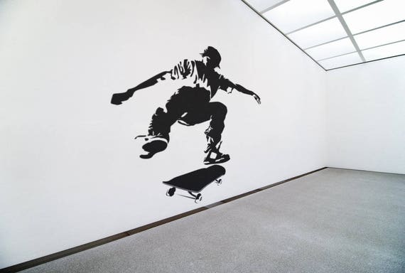 Skater wall decal / Sticker in Vinyl, Epic Decals for wall decor, Roller, Skates, Fearless Audacious Courageous Strong Daring Sports Skate