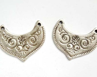 2 Oxidized Silver Moroccan Style Connectors - 1-5