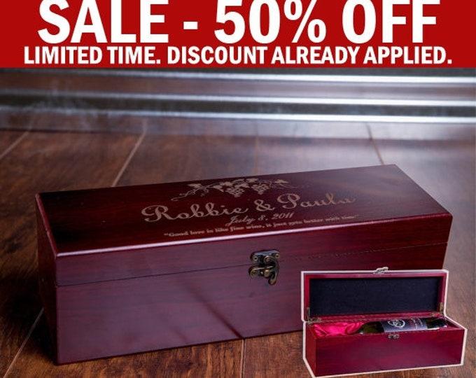 Wine Gift, Engraved Wine Box, Luxury Wedding Wine Box, Wood Box, Wooden Wine Case, Wine Display W02