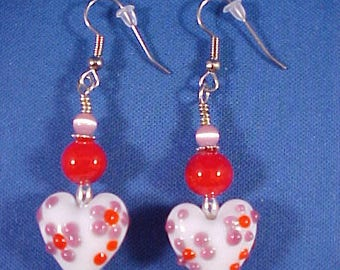 Valentine's Day Hand Made Glass Bead Heart Dangle Earrings