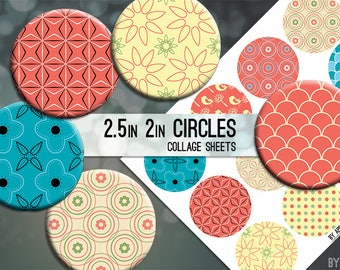 Digital Collage Sheet Coral Yellow Black Blue 2.5in and 2 Inch Circle Download Printable Images for Gift Tags Cards Scrapbooking JPG