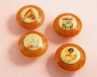 Hand Decorated Furniture Knobs. in Various Replications of Vintage Artwork. 1-1/4 Inch Wood Grain for Cabinet Doors & Dresser Drawers