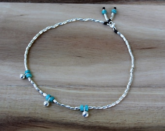 Turquoise Balancing Anklet - Karen Hill Tribe Silver - Turquoise beads