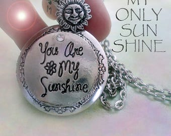 You Are My Sunshine Locket-Personalized w-Your Photo Inside! Sun Charm & Letter Charm, You Are My Sunshine Necklace for Women, Teens, Girls