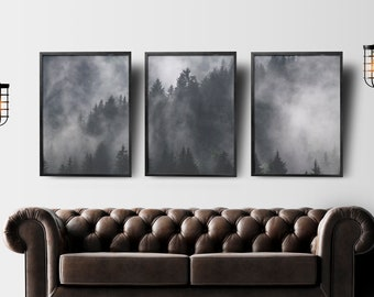 Set of 3 Prints, Wall Art, Forest, Trees, Mist, Instant Download, Printable, A2, A3, A4