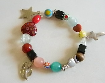 Beaded Christian Religious Stretchy Bracelet With Charms