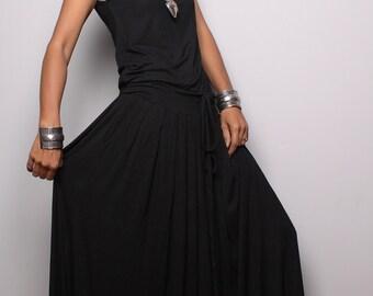 Black Maxi Dress -  Sleeveless dress : Autumn Thrills Collection No.9s
