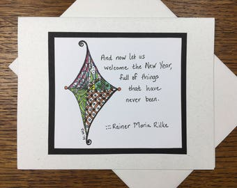 Rilke Quote New Year's or Holiday Greeting Card Set