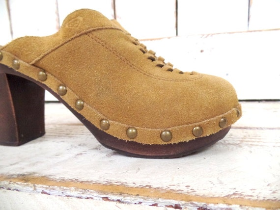 leather studded suede 90s sandals clog clogs leather heel tan platform mules wooden 8 vintage slip on platform high wznxHU7w
