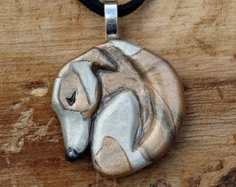 Red fawn brindle particolour Whippet Greyhound pendant - Handmade Houndlings - polymer clay - Sighthound, Whippet, Greyhound, Lurcher lovers