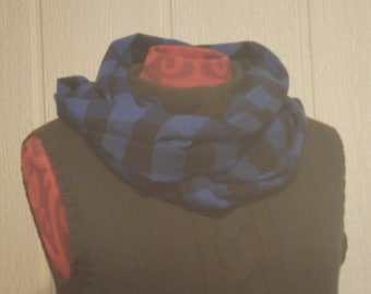 Blue & Black Scarf, Buffalo Plaid Scarf, Flannel Infinity Scarf, Lumberjack Scarf, Flannel Scarf, Gifts for Her, Christmas Gifts