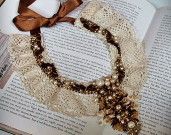 TORI Pearl Beaded Lace Collar Necklace