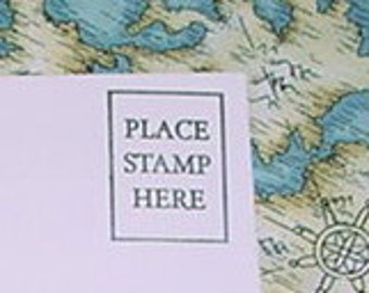 Place stamp here rubber stamp faux postage