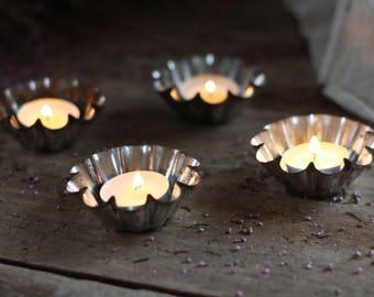 French set 4 antique flan molds. French cake pans. Night light holder. Tart tin mold. Baking tins. Holder candle. Candlestick mold. Tin pots