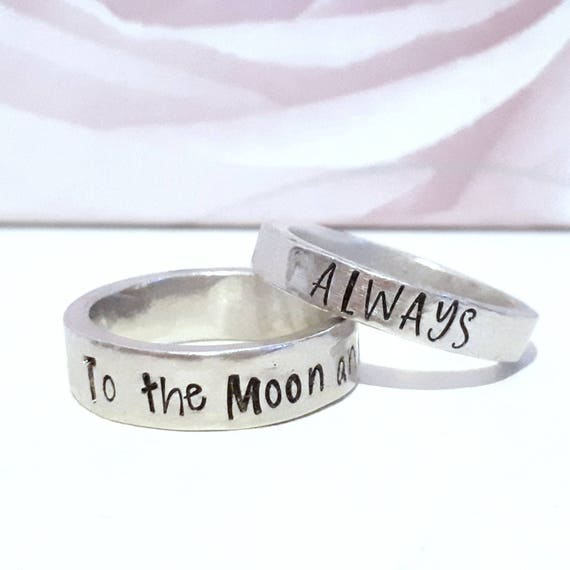 Personalised ring, handstamped Pewter ring, personalised jewellery, gift for her, name jewelry