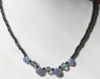 LIlac Purple Tanzanite and Blue Zircon Beaded Necklace