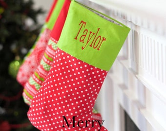 Christmas Stocking Personalized with Embroidered Monogram or Name Included
