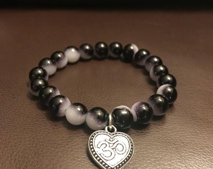 Om Black and White Bracelet