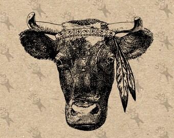 Kuh Feder indischen Bild Instant Download Digital bedruckbare Vintage Bild Clipart Grafik druckt Transfer-Sackleinen-Aufkleber-Dekor-t-shirt