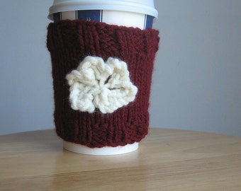 Knit Coffee Cup Cozy Burgundy with Cream Flower, Knit Coffee Sleeve, Knit Mug Cozy
