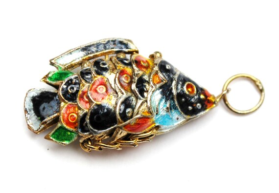 Articulated Fish Pendant   blue red  gold  enameling  movable charm jewelry making craft