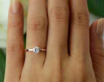 12 ct Promise Ring Engagement Ring Round Solitaire Ring